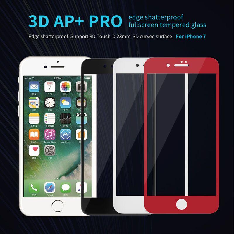 Для iphone 8 закаленное стекло Nillkin 3D AP + про края небьющиеся полноэкранные закаленное стекло для Apple iPhone 7 4.7 ''0.23 мм Тонкий