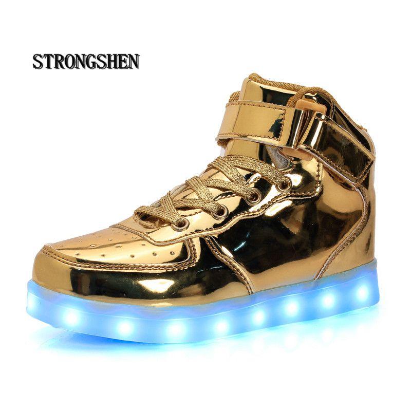 Strong shen Led enfants chaussures 2018 USB chargement panier chaussures avec lumière décontracté garçons et filles baskets lumineuses or argent