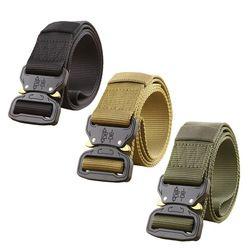 Military Equipment Army Tactical Belt Men Thicken Metal Buckle Sturdy Nylon Belt Combat Belts