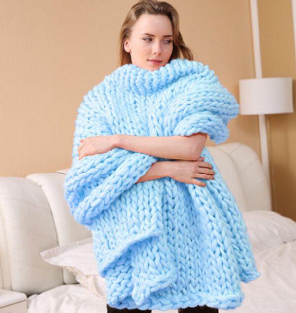 Super Soft thick Line Giant Yarn Knitted Blanket Hand Weaving Photography Props Blankets CrochetLlinen Woolen Knitting Blankets