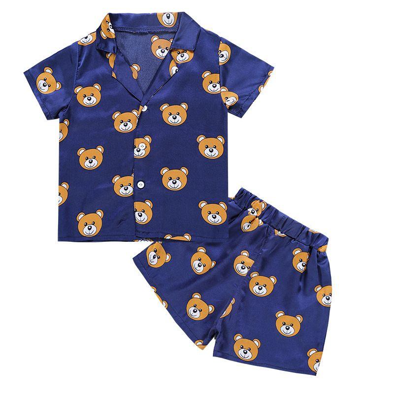 Mode 2018 d'été Enfants de Causalité ensemble t-shirts et shorts garçons filles ours motif Costumes pyjamas vêtements 2 pcs Maison vêtements