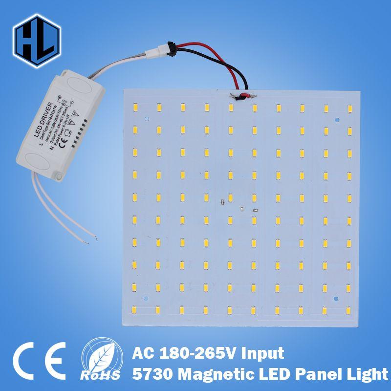 Livraison gratuite 180-265 V LED panneau lampe carré 10 W 15 W 18 W 20 W 25 W 35 W 5730 plaque de Panel de lumière de plafond à LED magnétique en Aluminium