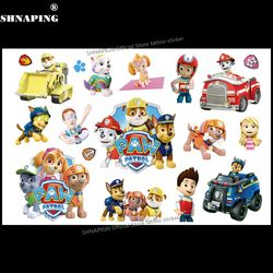 SHNAPIGN PAW Patrol Children Cartoon Temporary Tattoos Sticker Fashion Summer Style Elsa Waterproof Girls Kids Boys Hot