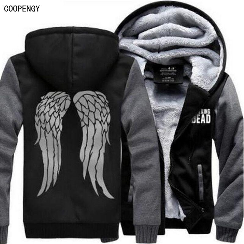 New The Walking Dead Hoodie Zombie Daryl Dixon Wings Winter Fleece Mens Sweatshirts USA Size