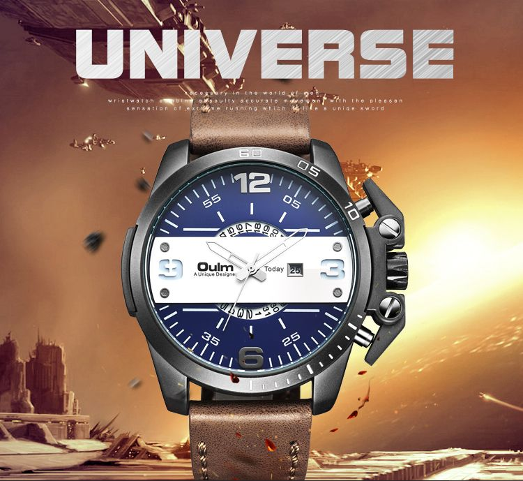Luxury Men's Oulm Watch Sport relojes Japan Double Movement Square Dial <font><b>Compass</b></font> Function Military Cool Stylish Wristwatches