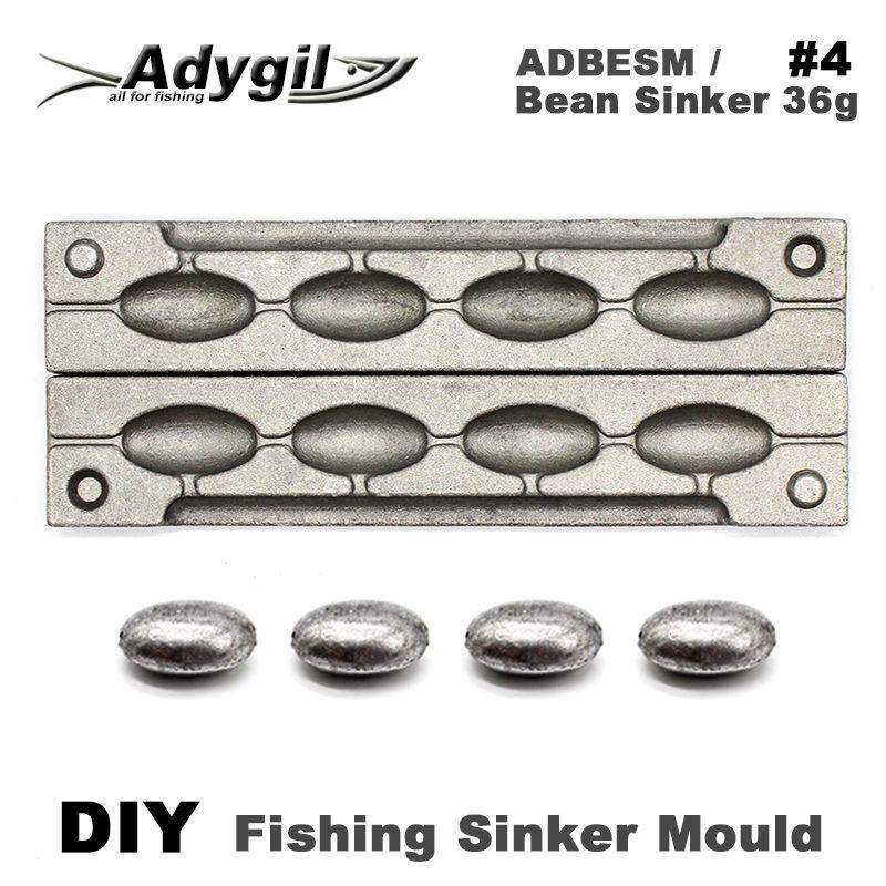 Adygil DIY Fishing Bean Sinker Mould ADBESM/#4 Bean Sinker 36g 4 Cavities