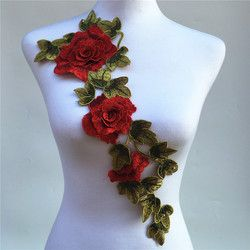 1Pc 3D Red Embroidered Fabric Rose Flower Venise Lace Sewing Applique Lace Collar Neckline Collar Applique Accessories