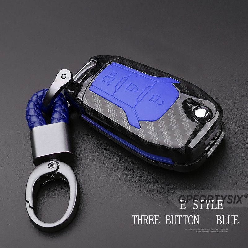 Carbon Silicone Protection Decoration Car Key Case Cover Keychain for Ford Escort Mondeo Everest Ranger Fusion Auto Key Shell