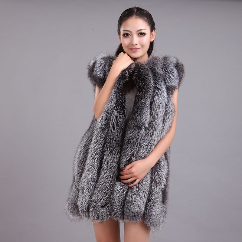 LIYAFUR 2017 Women's 100% Real Genuine Full Pelt Silver Fox Fur Long Sleeveless Vest Waistcoat Gilet for Women