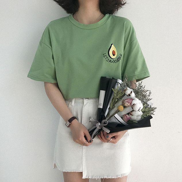 2019 nouveau coréen mignon avocat broderie à manches courtes t-shirt femmes été petit t-shirt frais Harajuku t-shirt Femme
