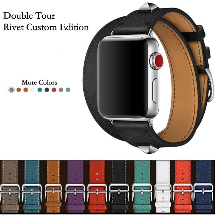 Genuine Leather Double Tour Watch Band For Apple Watch Straps Gor Apple Watch Series 1 2 3 iWatch Herme Watch Bracelet 38mm 42mm
