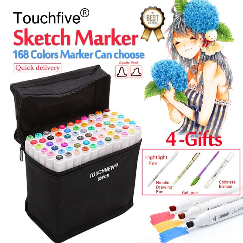 Touchfive 30/40/60/80/168Colors Pen Marker Set Dual Head Sketch Markers Brush Pen For Draw Manga Animation Design Art <font><b>Supplies</b></font>