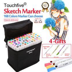 Touchfive 30/40/60/80/168Colors Pen Marker Set Dual Head Sketch Markers Brush Pen For Draw Manga Animation Design Art Supplies