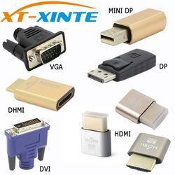 Xinte Connector VGA DVI HDMI Mini DP Display port Virtual Display Dummy Adapter Plug EDID Headless KVM 2560 &1920*1080p@60Hz 4K