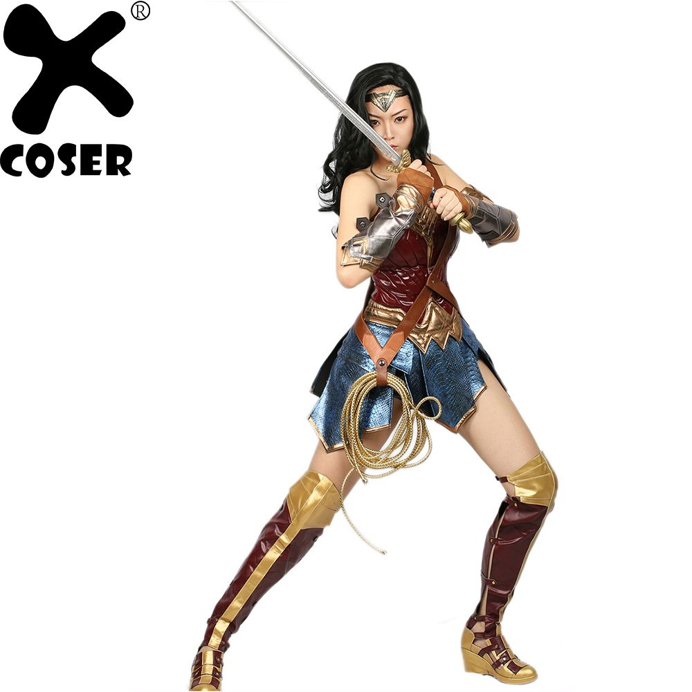 XCOSER Wonder Woman Costume DC Comic Superhero Cosplay Outfit Sull of Suit Carnival Show Halloween Costume for Women Adult Size