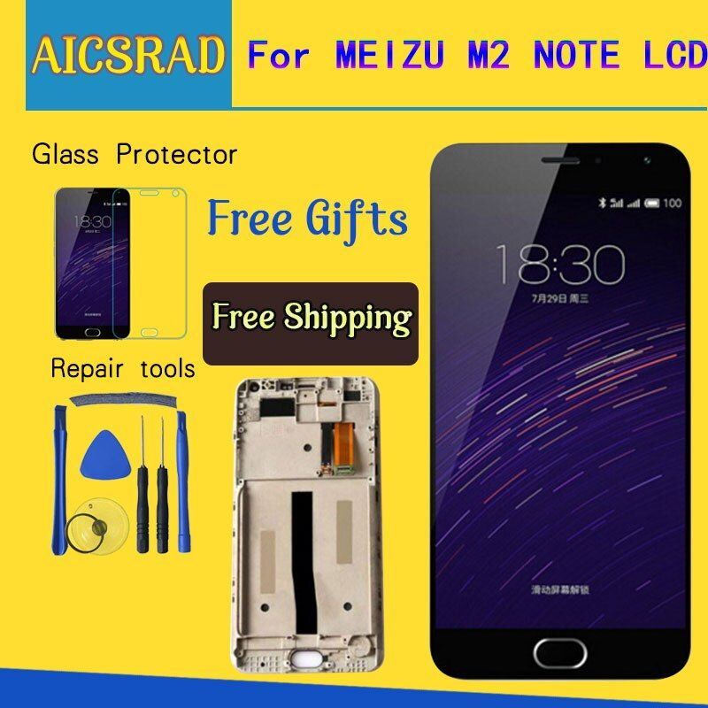 AICSRAD LCD Display + Digitizer Touch Screen assembly For Meizu M571 M2 Note Cellphone 5.5 inch Meilan Note2 With Frame