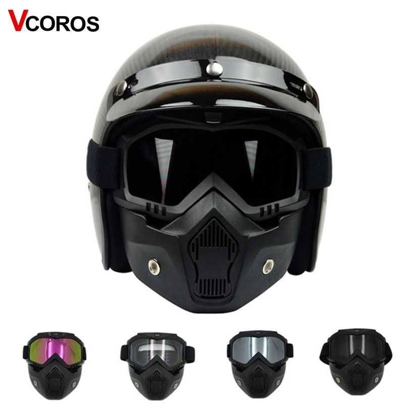 VCOROS detachable mask goggles for vintage motorcycle helmet monster mask for <font><b>scooter</b></font> jet retro moto helmets cosplay mask