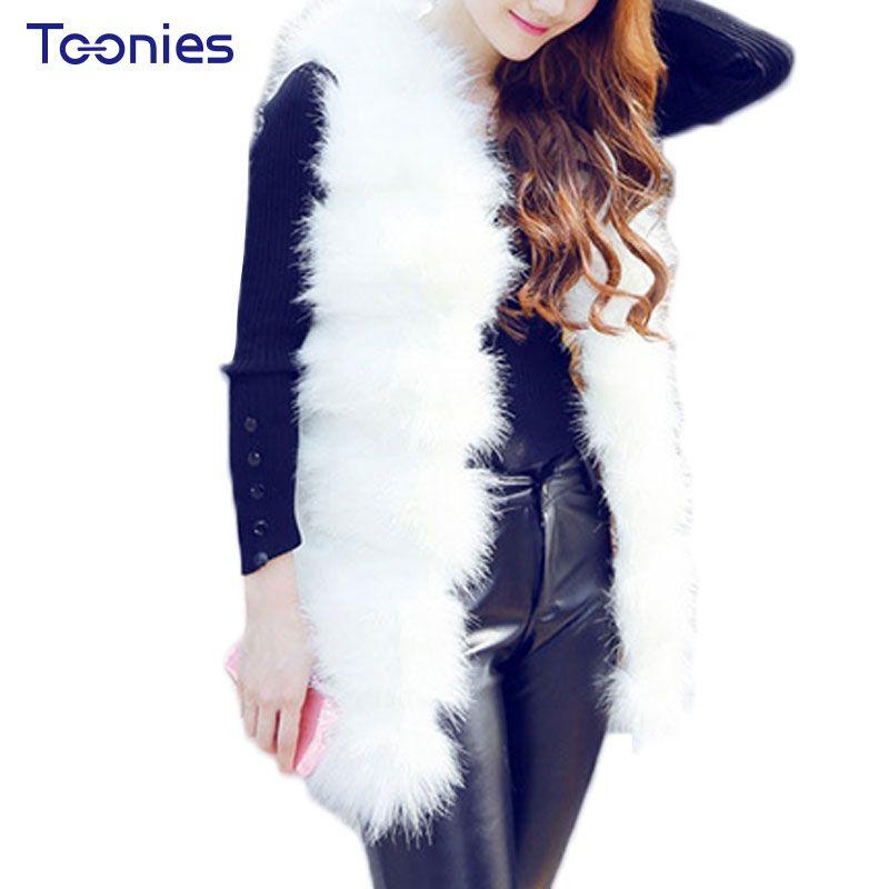 2018 Women Winter Coats Faux Fox Jackets Sleeveless Comfortable Slim All-match Solid Women's Long Vest Outwear Clothing Womens