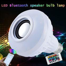 TSLEEN 85-265 V E27 RGB Lâmpada Sem Fio Bluetooth Speaker Música Jogando pode ser escurecido DIODO EMISSOR de Luz Música Lâmpada do Bulbo + 24 Teclas de Controle Remoto controle