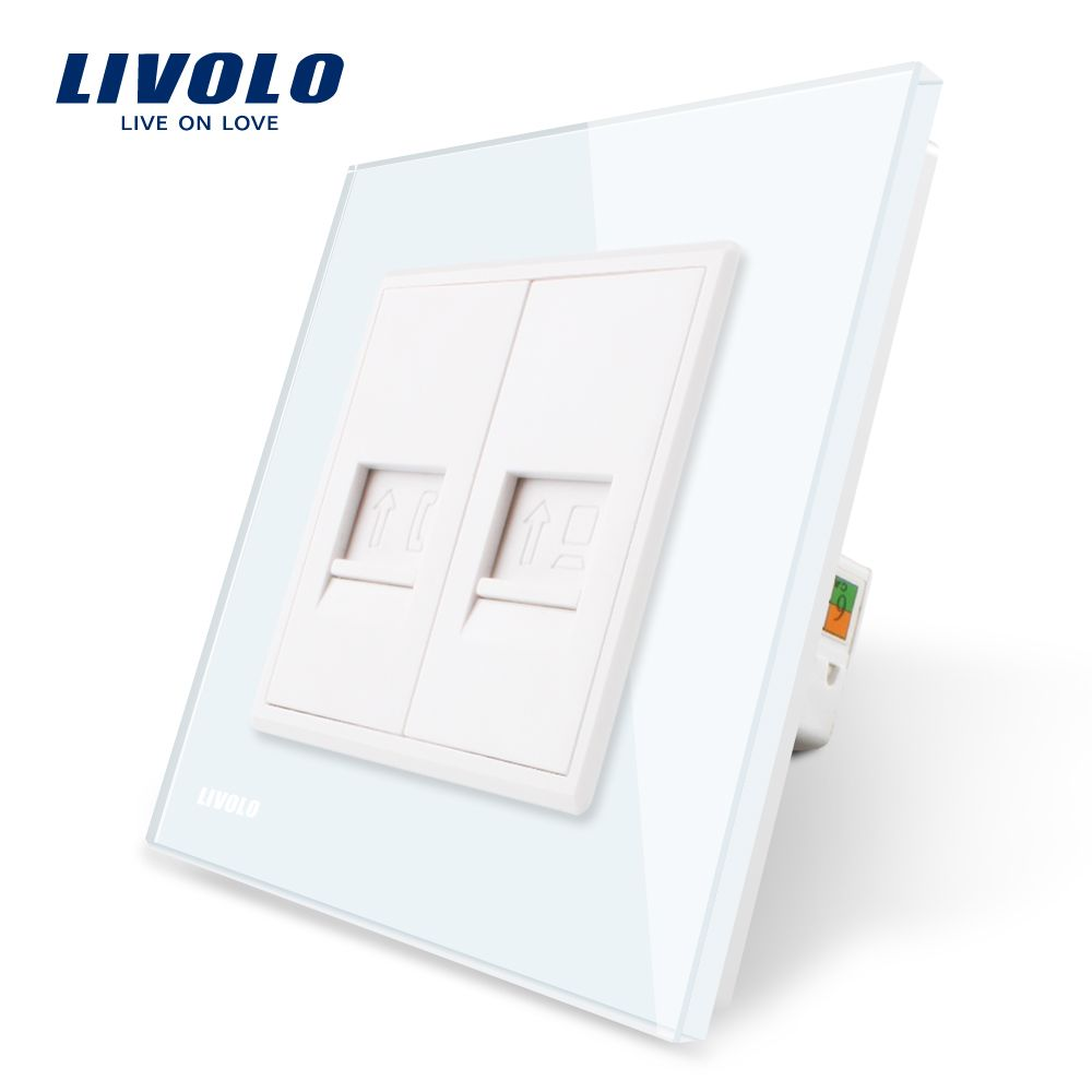Livolo Manufacture White Crystal Glass Panel,2 Gangs Wall Tel and Com Socket / Outlet VL-C791TC-11 Without Plug adapter