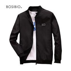 BOSIBIO 2018 Primavera Verano chaquetas y abrigos para hombre delgado ajuste Delgado bombardero chaquetas negro Stand Collar jaqueta masculina Venta caliente LH1