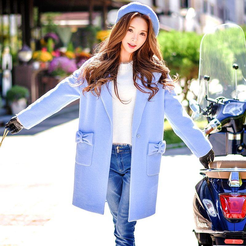 original 2017 autumn winter overcoat plus size new cute slim suit collar ladies bow pocket woolen coat women