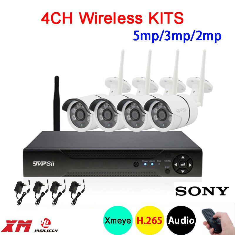5mp/4mp/2mp Dahua sechs array Infrarot ICsee APP Wasserdichte H.265 + 25fps 4CH 4 Kanal WIFI Drahtlose IP Kamera kits FreeShipping