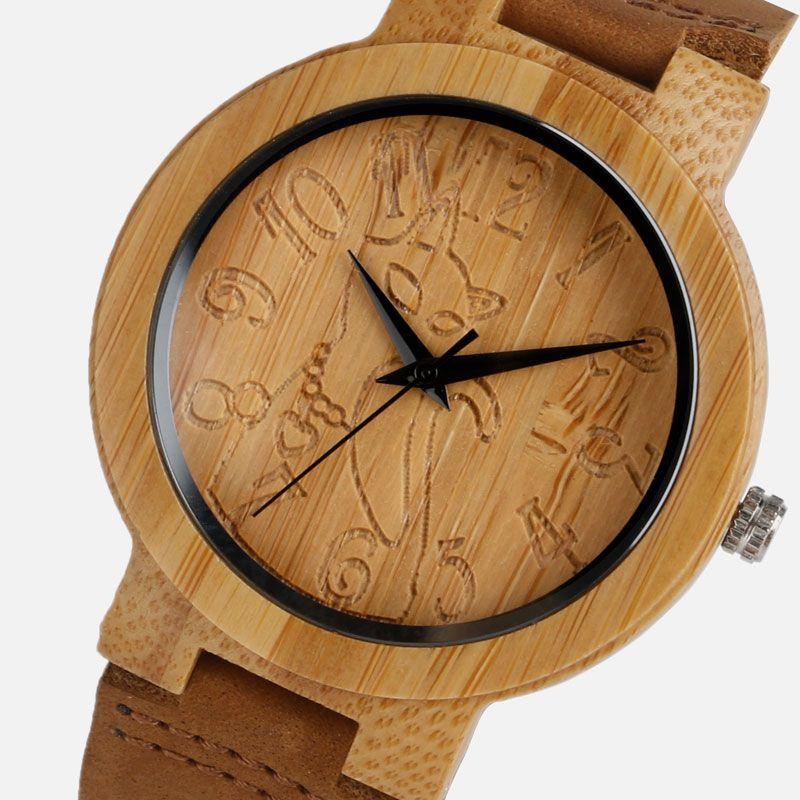 Reloj de madera de la vendimia mujeres de bambú gato encantador casual naturaleza bambú relojes de cuarzo simple creativo Cuero auténtico reloj