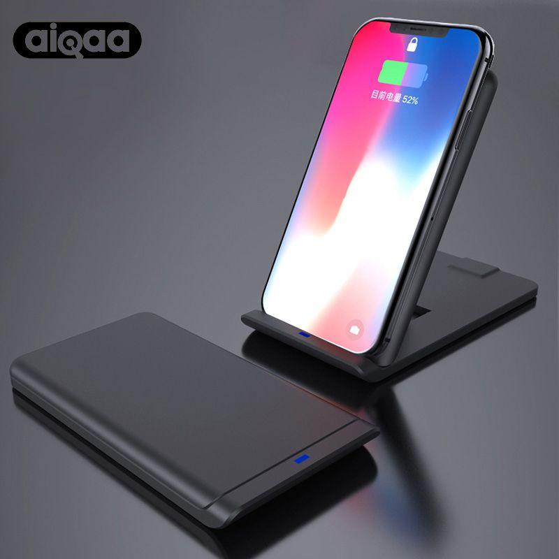 Aiqaa Qi Wireless-ladegerät Für iPhone X 8 10 Samsung Note 8 S8 Plus S7 S6 Telefon Schnelle Drahtlose Lade 10 Watt Docking Dock Station