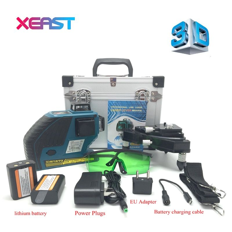 XEAST 3D XE-90G 12Lines Green Laser Levels Self-Leveling 360 Horizontal And Vertical Cross Super Powerful Green Laser Beam Line