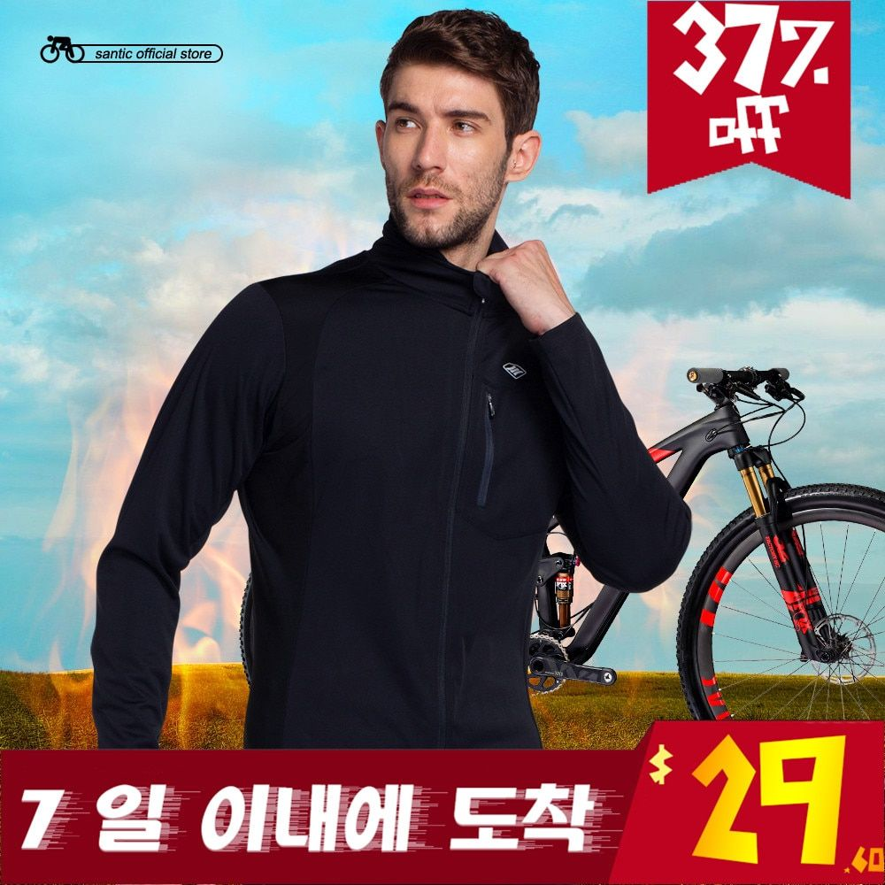 Santic Fit for 10-20 degree Men Black Bike Cycling Jackets Windproof Bicycle Cycling Clothes Ciclismo Maillot KC6104H