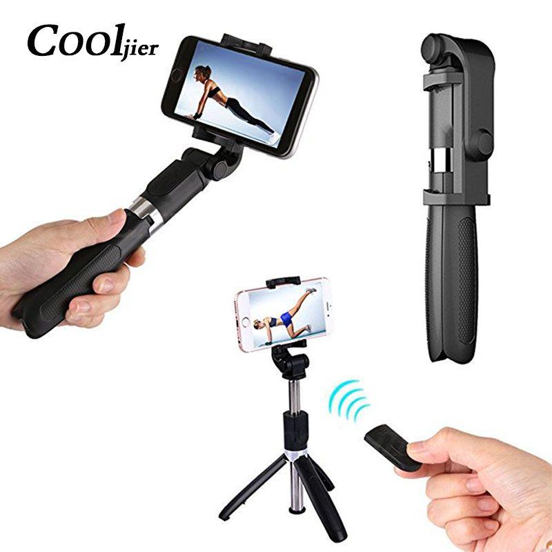 COOLJIER Universel Sans Fil Bluetooth Selfie Bâton Mini Pliable Téléphone Trépied Extensible Manfrotto Pour iPhone 8X7 6 s Plus