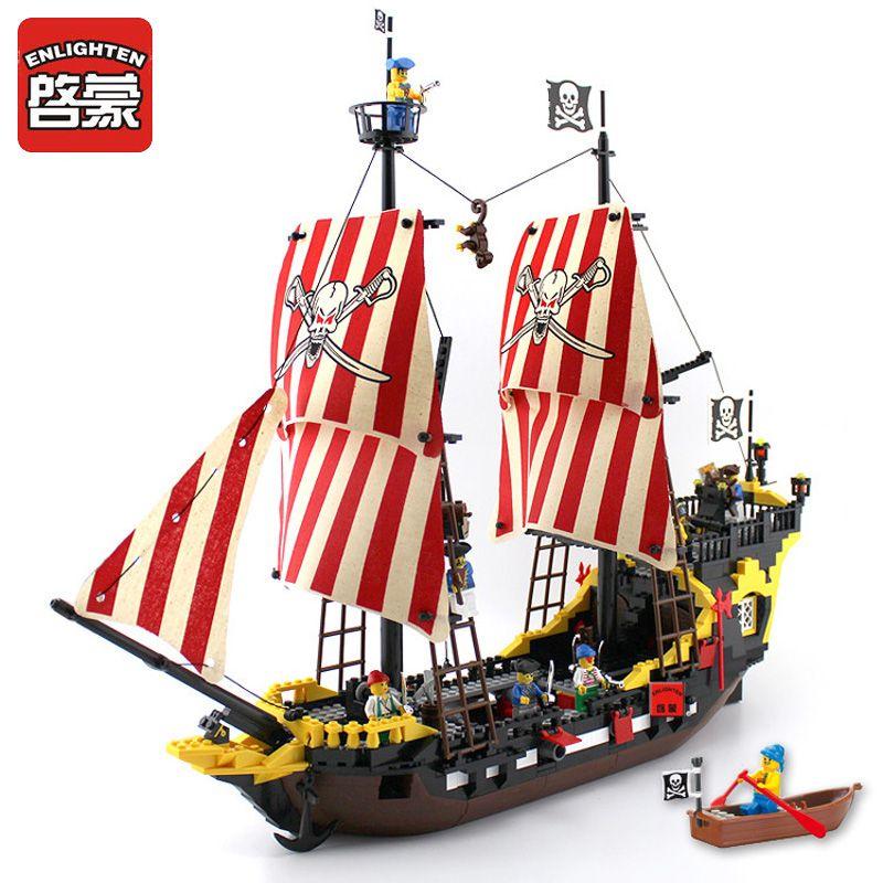 Enlighten Blocks 870+pcs Pirates Ship Black Pearl Model Compatible LegoINGly Building Blocks Educational Building Toys <font><b>Kids</b></font> Gift