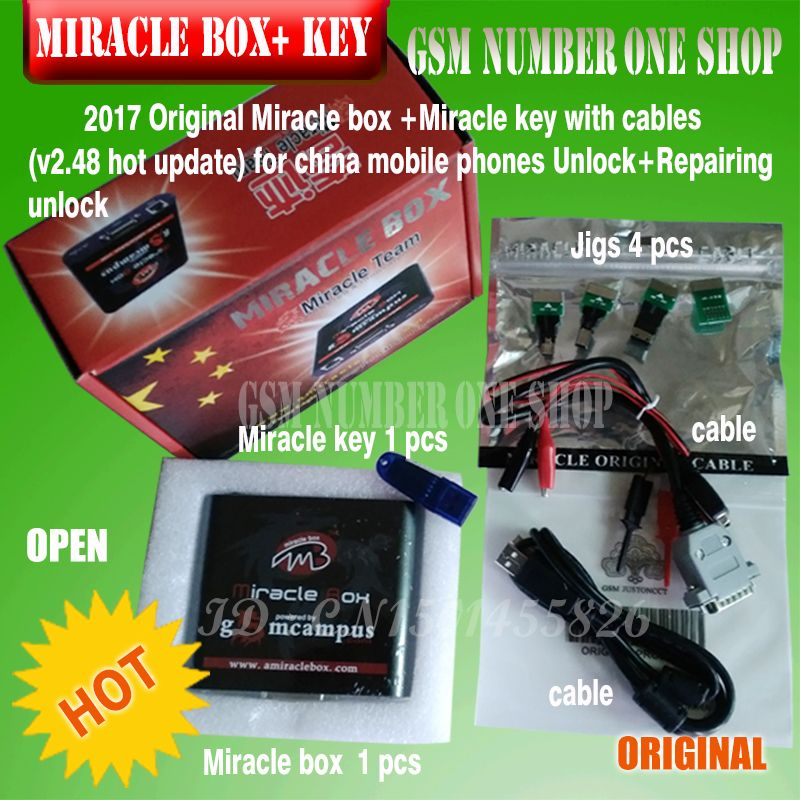 Original new Miracle box +Miracle key with cables (V2.48 hot update) for china mobile phones Unlock+Repairing unlock