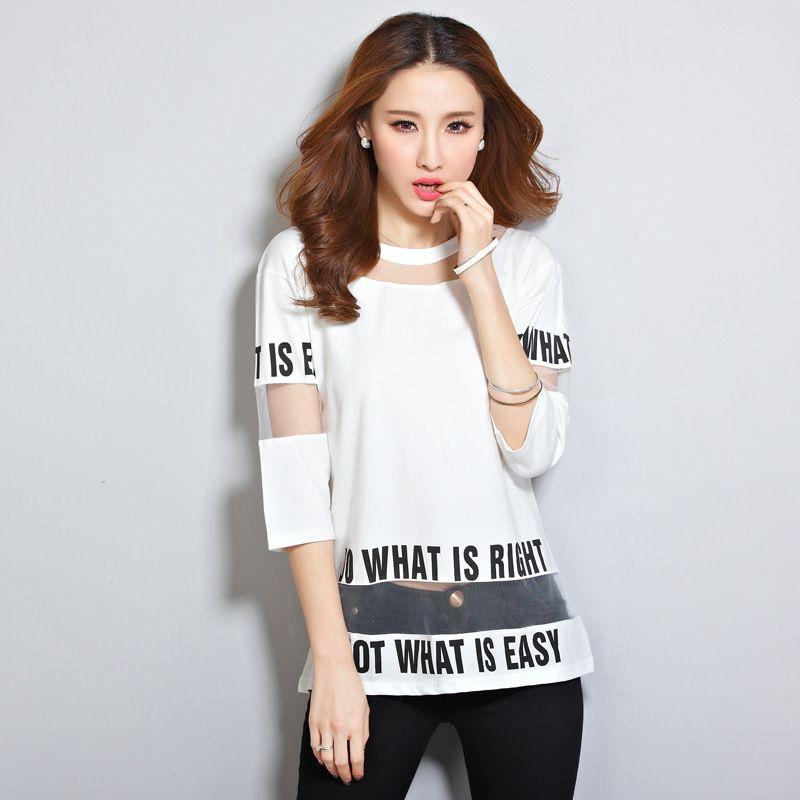 Brief Drucken Tops Sommer Frauen Mode Sexy Patchwork Mesh T-shirt 3/4 Hülsen-beiläufige Lose Schwarz/Weiß T-shirt Blusas 2016 A260