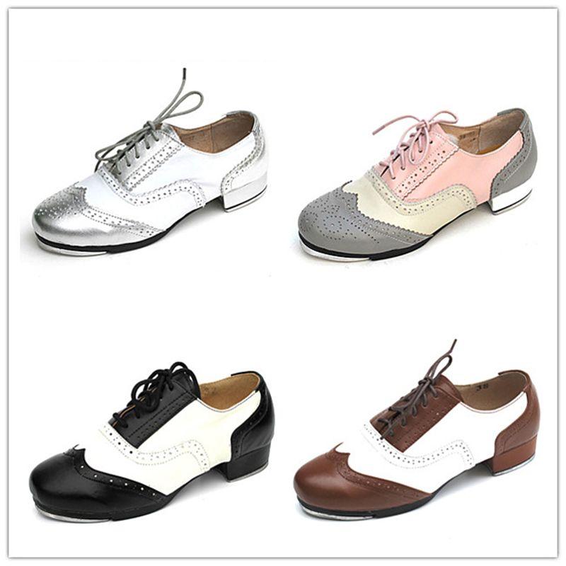 Männer Schuhe Turnschuhe Sport Frauen Echtes Leder Stepptanz Schuhe Farbabgleich Spitze Atmungs Hochwertigen Aluminium Gummisohle