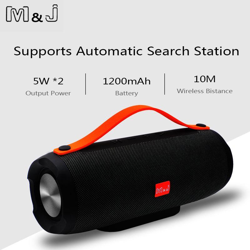 M & J Portable sans fil Bluetooth haut-parleur stéréo grande puissance 10 W système TF FM Radio musique Subwoofer colonne haut-parleurs pour ordinateur