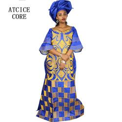 Afrika Gaun untuk Wanita Fashion Desain Baru Afrika Bazin Bordir Desain Gaun Panjang Syal Dua Buah Satu Set a023 #
