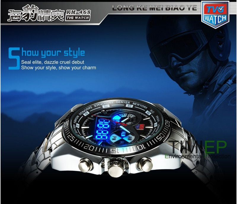 TVG 2018 Hight Quality Stainless Steel Black Men's Clock Fashion Blue Binary LED Pointer Mens 30AM Waterproof Sport Watch