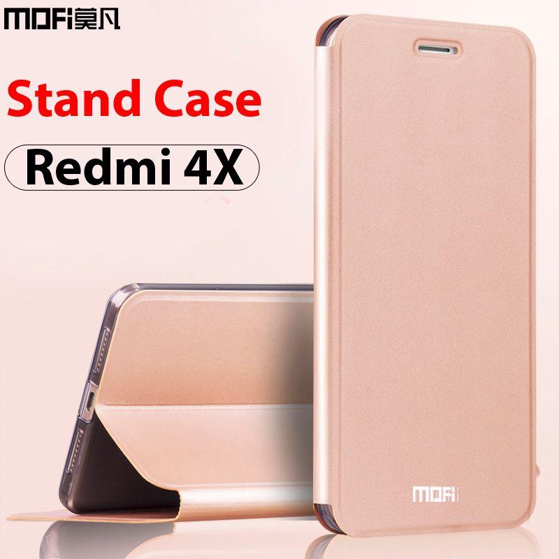 Xiaomi redmi 4x чехол xiaomi redmi 4x кожаный чехол флип Роскошный Черный mofi ультра тонкий folio чехол со стойкой xiaomi redmi 4x чехол