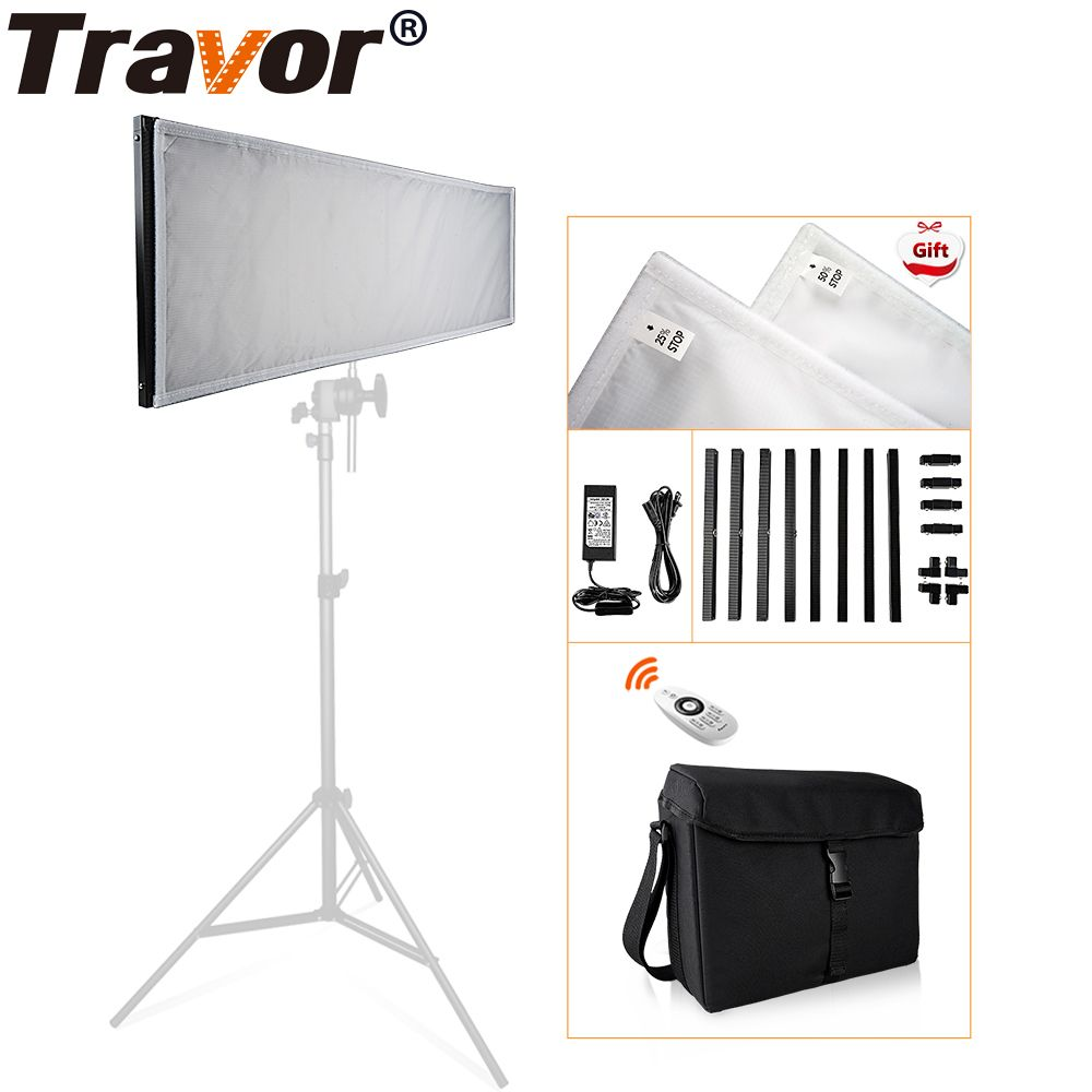 Travor FL-3090 1x3' 30*90cm Flexible LED Fabric Light 576pcs LEDs 5500K Dimmable Photography Light with 2.4G remote and bag