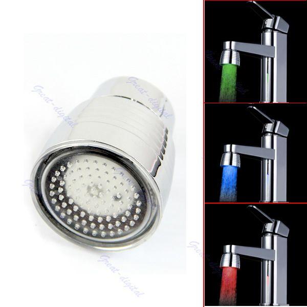F85 Kostenloser Versand Temperatursensor 3 Farbe Küche Wasserhahn Wasserhahn Rgb-glühen-dusche LED-Licht