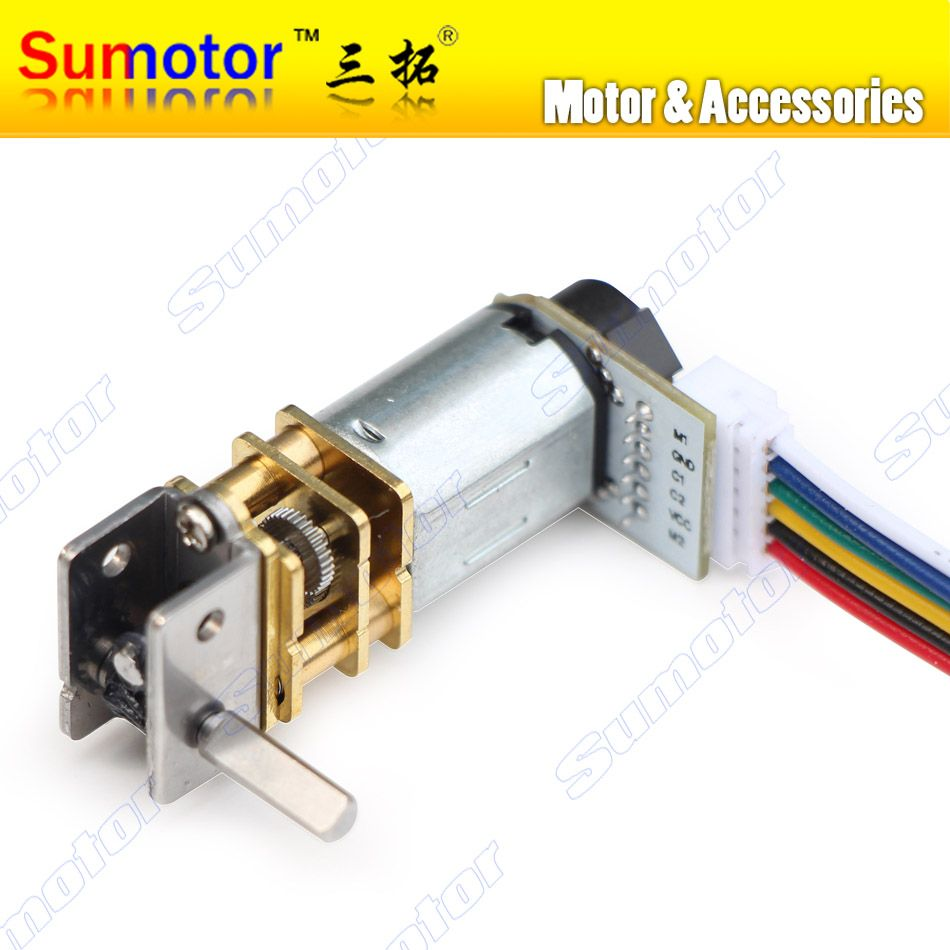 GW12GA DC 6V 12V smallest Worm gear motor Low speed with encoder Reversible Electric engine for Ultra mini Smart car Robot Lock
