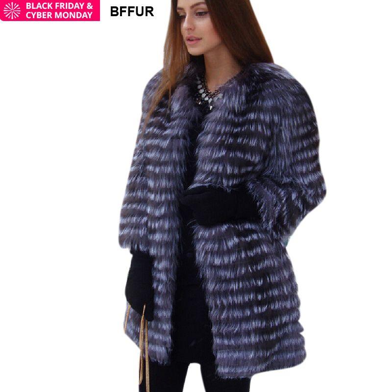 BFFUR Women's Winter Real Fox Fur Coat 2018 NEW Ladies Thick Warm Medium Long Female Fur Jacket Silver Fox Fur Coat Snowsuit