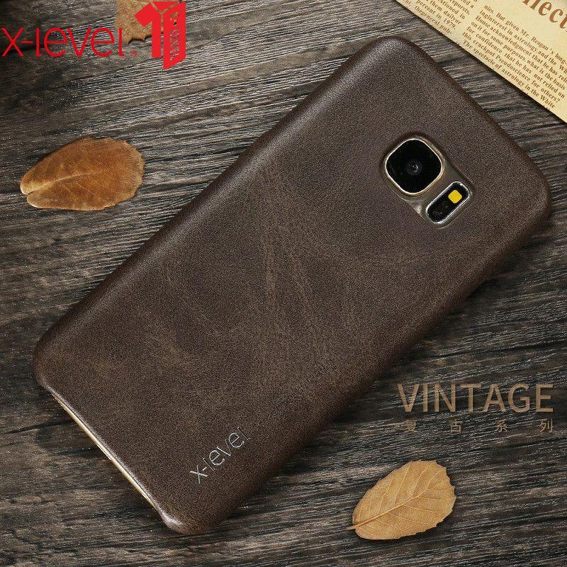 Étui pour samsung Galaxy S7 S8 en cuir x-level Original PU Ultra mince protection arrière étui pour samsung S7 Edge S8 Plus