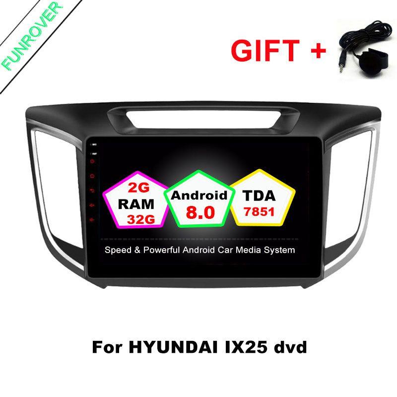 FUNROVER 2G+32G Android 8.0 car navigation dvd player GPS Navi For HYUNDAI IX25 CRETA gps stereo car multimedia tape recorder FM