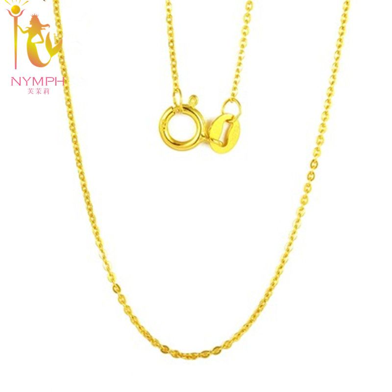[ NYMPH] Genuine 18K <font><b>White</b></font> Yellow Gold Chain 18 inches au750 Cost Price Necklace Pendant Wendding Party Gift For Women[G1002]