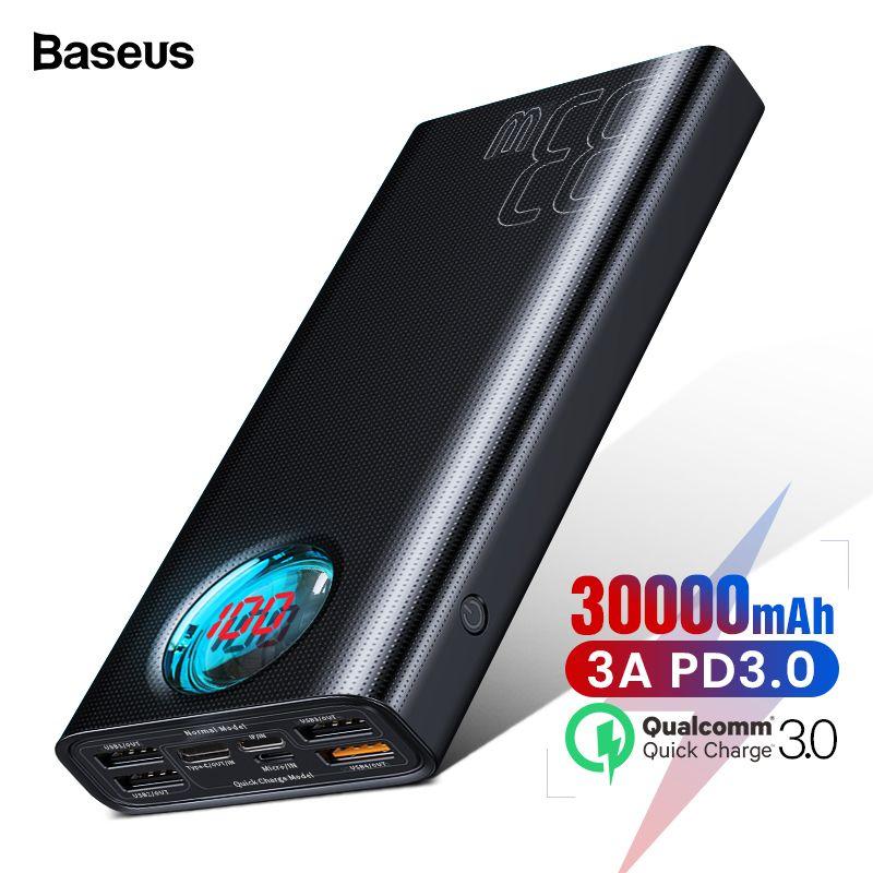 Baseus 30000 mAh batterie externe USB C PD3.0 Charge rapide rapide 3.0 30000 mAh Powerbank pour Xiao mi mi chargeur de batterie externe Portable