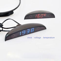 Rouge LED Automobile De Voiture Électronique Horloges Montres Thermomètre Voltmètre Numérique Lumineux Horloge Connexion Allume-cigare