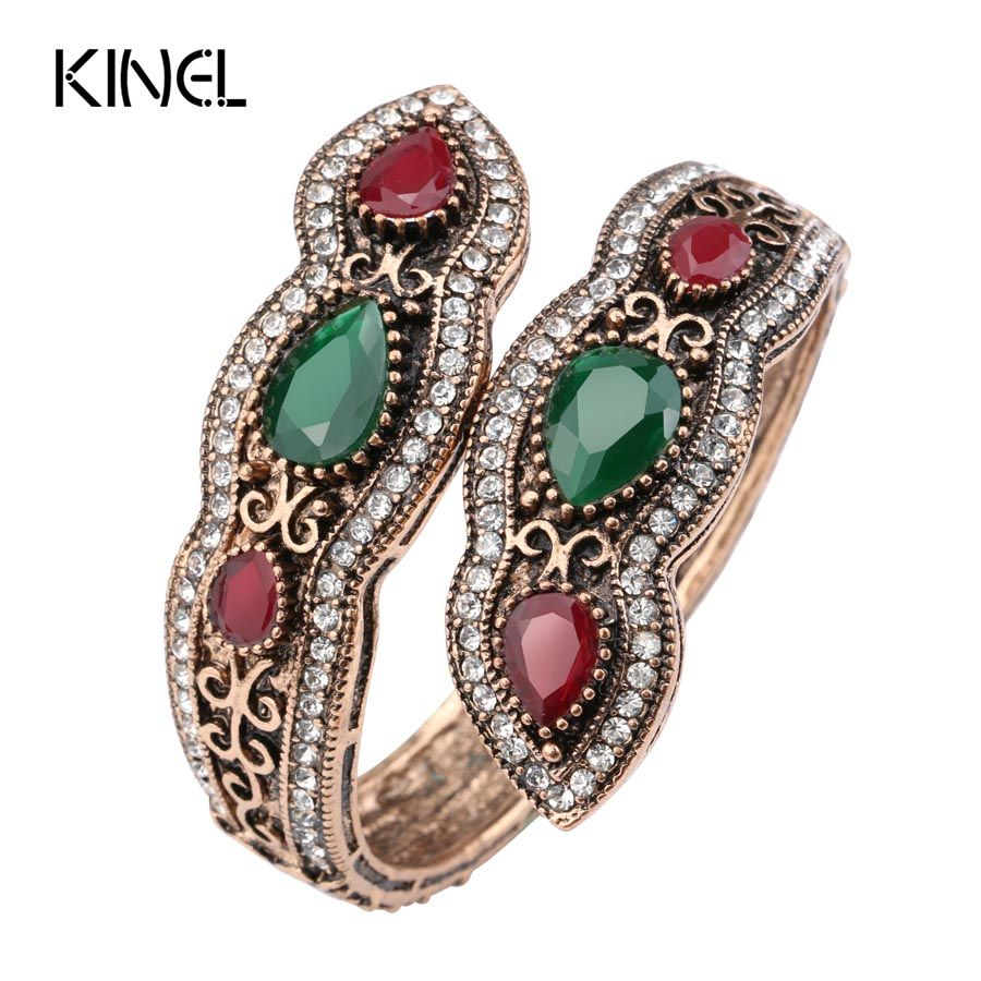 Kinel Turkish Jewelry Big Bangles Bracelets Sculpture Retro Gold Color Full Crystal Cuff Bracelets Hand Accessories 2017 New